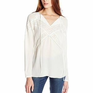 Bailey 44 Hades Embroidered Blouse w/ Tie Ivory L